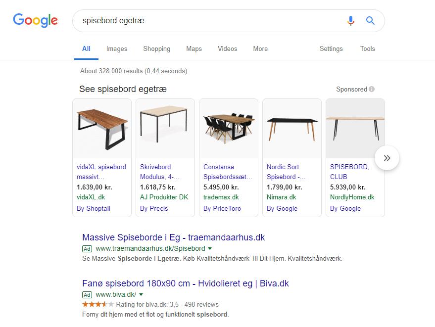 Google shopping søgning